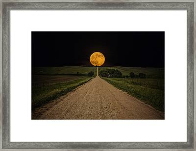 Road To Nowhere - Supermoon Framed Print by Aaron J Groen