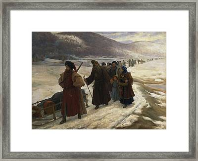 Road To Siberia Oil On Canvas Framed Print by Sergei Dmitrievich Miloradovich