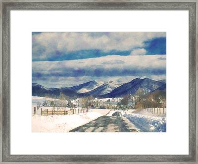 Road To The Mountains Framed Print by Kathy Jennings