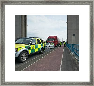 Road Traffic Accident Framed Print by Robert Brook