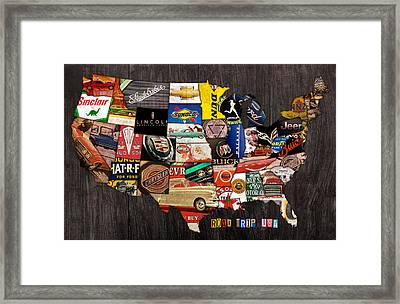 Road Trip Usa American Love Affair With Cars And The Open Road Framed Print by Design Turnpike