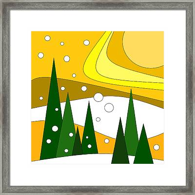 Road Trip Vi - Snow And Sun Framed Print by Val Arie