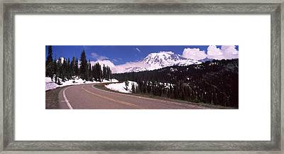 Road With A Mountain Range Framed Print by Panoramic Images