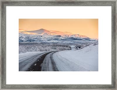 Road With Frozen Landscape, Extreme Framed Print