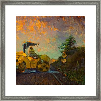 Road Work Ahead Framed Print by Athena  Mantle