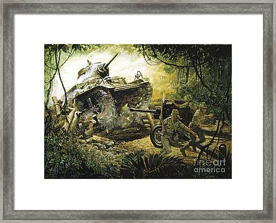 Roadblock On The Road To Bataan Framed Print by Pg Reproductions