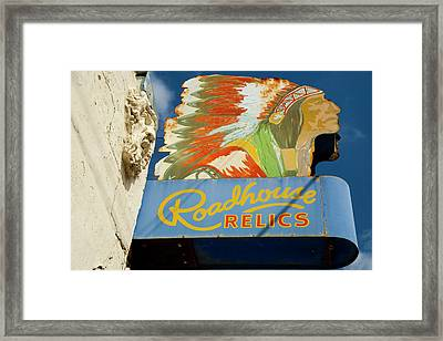 Roadhouse Relics Sign Framed Print by Mark Weaver