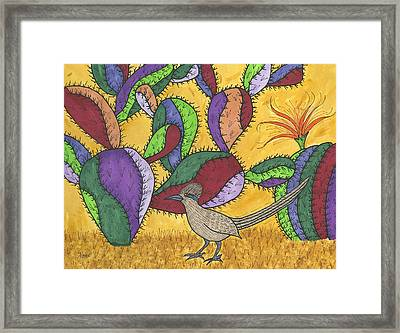 Roadrunner And Prickly Pear Cactus Framed Print by Susie Weber