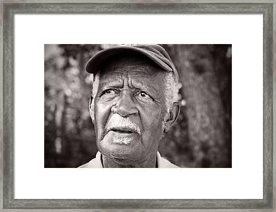Roadside Farmer Preacher Framed Print by Toni Hopper