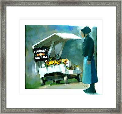 Framed Print featuring the painting Roadside Flower Stand Alternate Version by Bob Salo