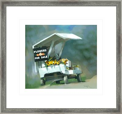 Framed Print featuring the painting Roadside Flower Stand by Bob Salo