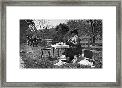 Roadside Picnic In 1908 Framed Print