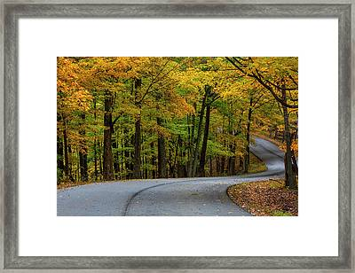 Roadway In Autumn In Brown County State Framed Print by Chuck Haney