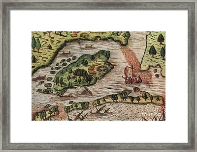 Roanoke Island 1585 Framed Print by Photo Researchers