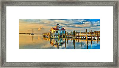 Roanoke Marsh Lighthouse Dawn Framed Print by Nick Zelinsky
