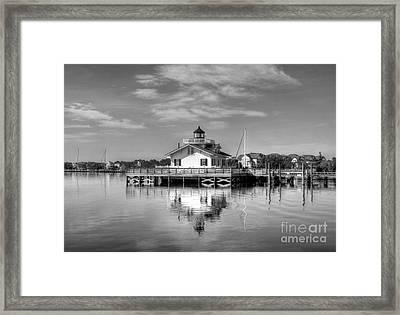 Roanoke Marshes Light 3 Bw Framed Print by Mel Steinhauer