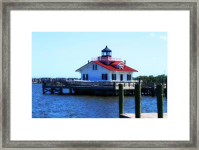 Framed Print featuring the photograph Roanoke Marshes Light 4 by Cathy Lindsey