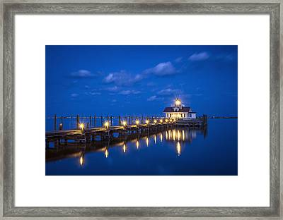 Roanoke Marshes Lighthouse Manteo Nc - Blue Hour Reflections Framed Print by Dave Allen