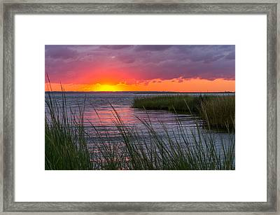 Framed Print featuring the photograph Roanoke Sound Sunset by Gregg Southard