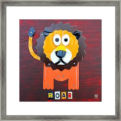 Roar The Lion License Plate Art Framed Print