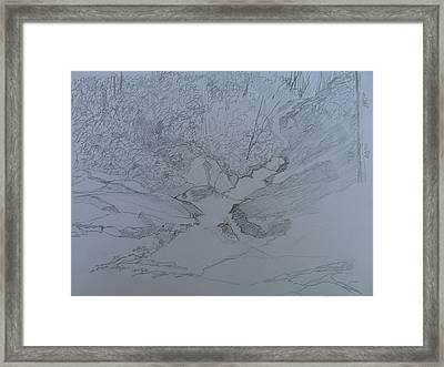 Roaring Fork Falls - Sketch Framed Print by Joel Deutsch