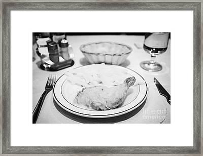 Roast Chicken And Fries Catalan Style From A Tourist Set Menu Andorra La Vella Andorra Framed Print by Joe Fox