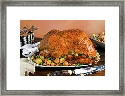 Roast Turkey With Potatoes And Chestnuts Framed Print by Nico Tondini
