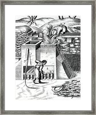 Roasting Gold Ore To Recover The Metal Framed Print by Universal History Archive/uig