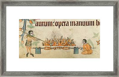 Roasting Meats On A Spit Framed Print by British Library