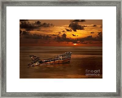 Framed Print featuring the digital art Roatan Shipwreck by Shirley Mangini