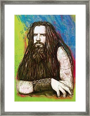 Rob Zombie Stylised Pop Art Drawing Sketch Portrait Framed Print by Kim Wang