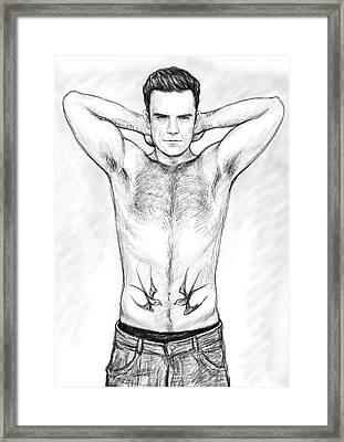 Robbie Williams Art Drawing Sketch Portrait Framed Print by Kim Wang