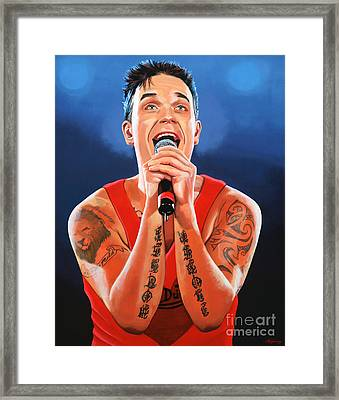 Robbie Williams Painting Framed Print by Paul Meijering