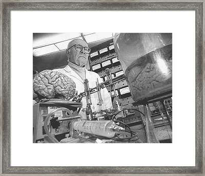 Rober J.white Famous Neurosurgeon Best Know For His Head Transpl Framed Print by Walter Novak