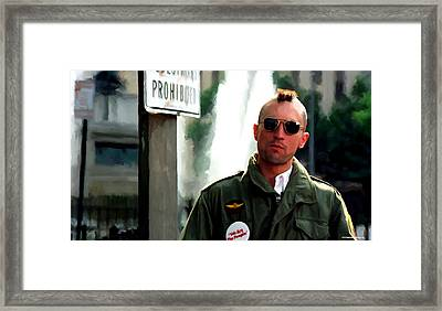 Robert De Niro In The Film Taxi Driver - Martin Scorsese 1976 Framed Print by Gabriel T Toro