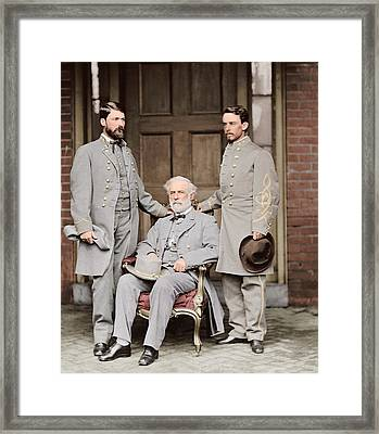 Robert E. Lee With Eldest Son And Aide Framed Print by Stocktrek Images