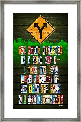 Robert Frost The Road Not Taken Poem Recycled License Plate Lettering Art Framed Print by Design Turnpike
