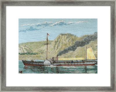 Robert Fulton's Steamboat Framed Print by Prisma Archivo