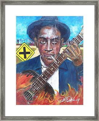 Robert Johnson At The Crossroads Framed Print by Aaron Harvey