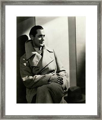 Robert Montgomery Wearing An Overcoat Framed Print by Toni Von Horn