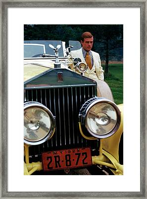 Robert Redford By A Rolls-royce Framed Print