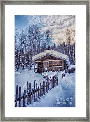 Robert Service Cabin Winter Idyll Framed Print