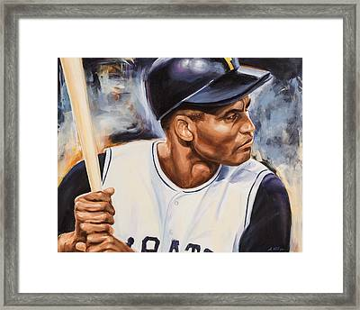 Roberto Clemente Framed Print by Angie Villegas