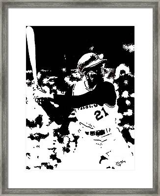 Roberto Clemente Drawing Framed Print by Rob Monte