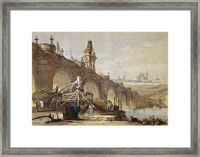 Roberts, David 1796-1864. Toledo Bridge Framed Print