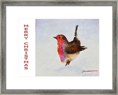 Robin Christmas Card Framed Print