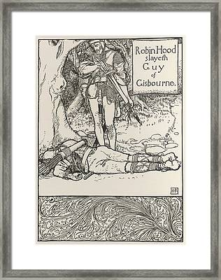 Robin Hood And Guy Of Gisbourne Framed Print by British Library