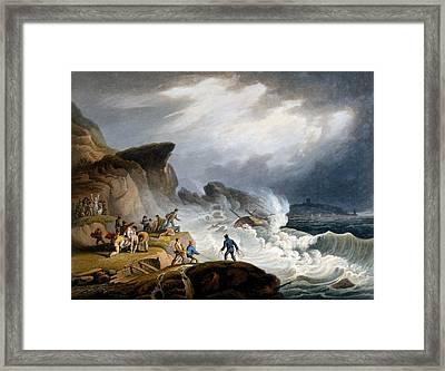 Robin Hoods Bay, Yorkshire, 1825 Framed Print by Francis Nicholson