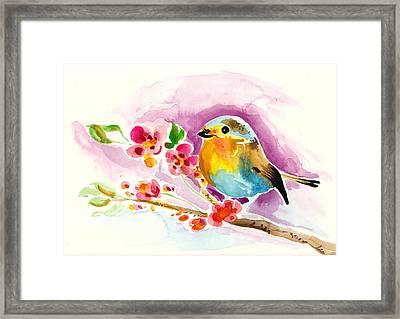 Robin In Flowers Framed Print by Tiberiu Soos