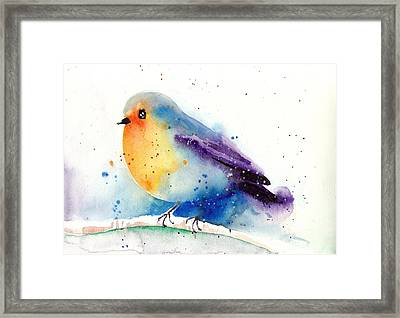 Robin In Snow - Winter Art Bird Framed Print